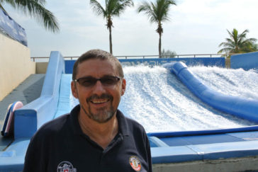 Heinz Iten and the Flowrider at the Wave House Sentosa in Singapore - Layback Travel | Surf Travel Magazine