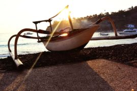 Boat during Sunrise in Amed Bali