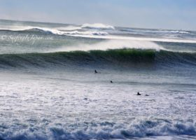 Surfing in Hebara, Japan in December