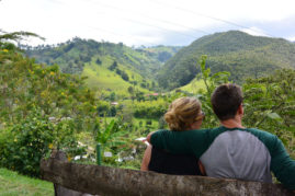 Happy couple @ coffee farm in Salento