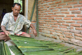Making palm leaf roof