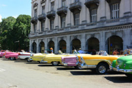 Lineup of oldtimer cars, Havana, Cuba - Layback Travel